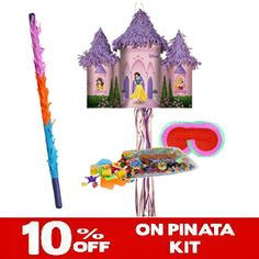 Disney Princess Pull-String Pinata  http://www.pinatas.com/product/PK137824/Disney-Princess-Pull-String-Pinata-Party-Pack-Including-Pinata,-Pinata-Candy-and-Toy-Filler,-Buster-and-Blindfold.html