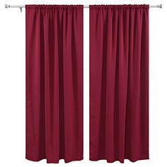 Deconovo Super Soft Ready Made Curtains Thermal Insulated Pencil Pleat blackout Curtains for Livingroom with Two Matching Tie Backs 46 x 54 Fushcia One Pair