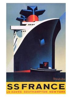 since I worked on the SS Norway! SS France Travel Poster by Lightning Rose, via… Retro Poster, Poster Ads, Vintage Advertisements, Vintage Ads, Vintage Makeup, Travel Ads, Art Deco Posters, Le Havre, Rms Titanic