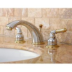 Shine up your bathroom with these lovely gold and silver sink faucets. The faucet is made of solid brass with a polished chrome & brass finish. The charming widespread bathroom faucets are installed with a drip-free washer-less cartridge.