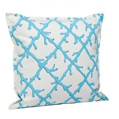 Bright Turquoise Coral Trellis Square Beach Pillow