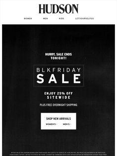 The Black Friday Sale Hudson Jeans Email Newsletter Design