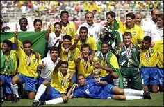 The FIFA World Cup became the best attended in history, with Brazil celebrating their first world title since Romario and Bebeto were the Brazilians' star performers. Brazil Football Team, National Football Teams, World Football, Soccer World, Brazil World Cup, Fifa World Cup, Football Mondial, Time Do Brasil, David Villa