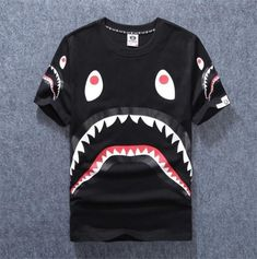 Bape Shark Jaw Print R-Neck T-shirt Fashion Men Casual Cotton Aape Basic Tee Top - Shark Tshirt - Latest Shart Tshirt ideas Bape Shark T Shirt, Bape Shirt, Dope Outfits For Guys, Cute Lazy Outfits, Bape Outfits, Lacoste, Hip Hop, Estilo Rock, Jogger