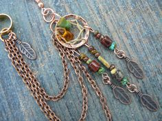 ONE copper and green turquoise dreamcatcher chained ear cuff fall czech beads cuff in boho gypsy hippie hipster native and tribal fusion