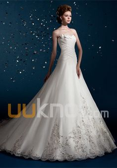 A-line Sweetheart Cathedral train Tulle Satin Wedding Dress - UUknot.com