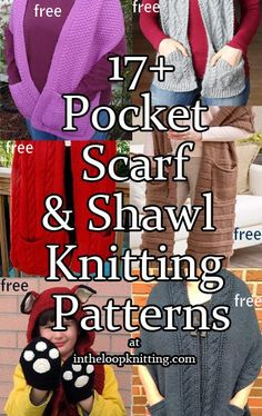Knitting Patterns for Pocket Scarves and Shawls. Most patterns are free