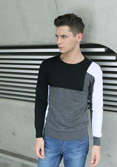 LANWO 2013 sweter męski dekolt V wzór geometryczny