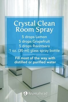Nobody wants to get sick!  Cleaning the air in your home  is important.  Here's a room spray to help refresh any room in your home!   One of Aromahead's most popular online classes is Aromatherapy for Natural Living. Its full of research-based information about essential oils and effective recipes like this one for cleaning and personal care.