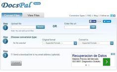 DocsPal es una herramienta web gratuita para convertir entre formatos de archivos. Puede convertir documentos, vídeos, ebooks, audios, imágenes y archivos.