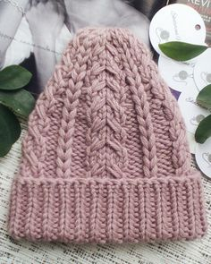 Pink slouchy hat knit cable hat knit slouchy hat pink women knitted pink hat  pink winter 64659961e631