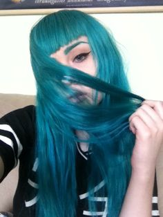 Long blue hair with straight bangs