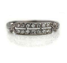 Antique Two Row Diamond Wedding Band Deco Engagement Ring, Antique Engagement Rings, Diamond Bands, Diamond Cuts, Diamond Jewelry, Antique Jewelry, Vintage Jewelry, Vintage Diamond Wedding Bands, Thing 1