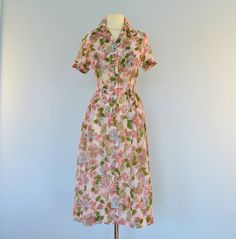 Vintage 1940s Day Dress...Semi Sheer Floral Print MCKETTRICK Day Dress Garden Party Medium. $105.00, via Etsy.