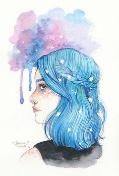 Artworks and drawings. Tumblr Drawings, Tumblr Art, Art Drawings, Art Watercolor, Watercolour Drawings, Amazing Drawings, Arte Pop, Art Journal Pages, Art Girl