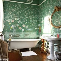 Anything but bland: non-white bathroom inspiration: Pretty to the max, a clawfoot bath tub is the perfect foil to exquisite green de Gournay handpainted wallpaper.