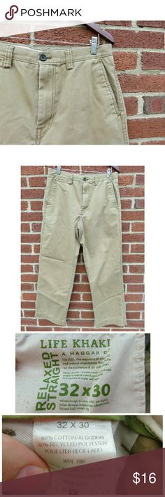 "LN Men's Haggar Co. Life Khaki Pants 32x30 +Like new, excellent condition! From Haggar Co, their ""Life Khaki"" relaxed, straight leg casual dress pant/ everyday slacks. Size 32x30, 60% cotton/40% polyester, 2 front slip pockets, 2 back pockets. Great wardrobe essential for guys! +Bundle with my other men's/women's items or kids/baby clothes :-) Please ask any questions before buying. Smoke & pet free home. Thanks for shopping this WAHM's Suggested User closet! Haggar Pants Chinos & Khakis"