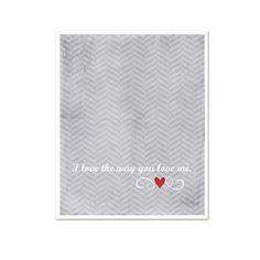 Love Art Poster I Love the Way You Love Me - Modern Original Love Art Print - Red Heart Gray Grey Chevron on Etsy, $15.00
