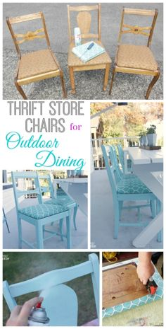 How to Turn Thrift Store Finds into an Outdoor Dining Set - Dining Set - Ideas of Dining - How to turn thrift store upholstered chairs into seating for your outdoor dining table at The Happy Housie Painting Moving Decor and Organization Refurbished Furniture, Repurposed Furniture, Furniture Makeover, Painted Furniture, Dresser Makeovers, Diy Dressers, Dining Chair Makeover, Painted Wicker, Room Makeovers