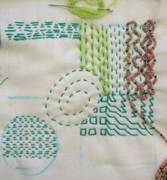 Jean T.: Showing all the techniques we did on the first day: A Line Can Be; Sashiko, Pattern Darning and Lacing.        Last October, I ...