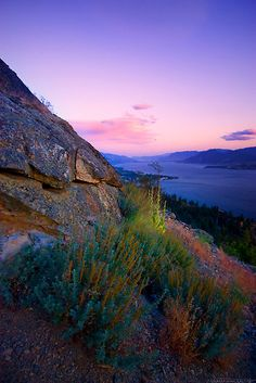 sunset over the small town of Naramata at Okanagan Lake, BC, Canada