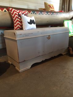 Vintage cedar chest painted Annie Sloan Paris Grey! Great foyer piece to store away boots, sports equipment, hats, scarves, & gloves.