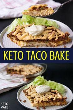 Keto Cheesy Beef Taco Bake Low Carb Recipe via @ketovale