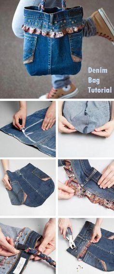 Denim Bag from old jeans ~ DIY Tutorial, -denim bag sewing tutorial Beginner Sewing Projects, Sewing For Beginners, Sewing Hacks, Sewing Tutorials, Sewing Tips, Tutorial Sewing, Diy Tutorial, Diy Projects, Diy Jeans Bag Tutorial