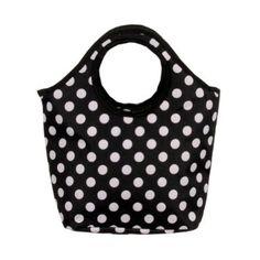 Adorable Polka Dot Insulated Lunch Bag Purse Handbag Carry To Go Black and White,$13.99