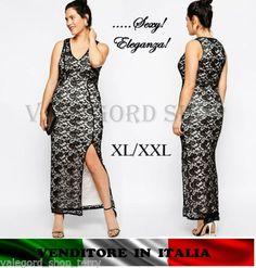 Vestito-PIZZO-SPACCO-taglia-forte-XXL-plus-size-ELEGANTE-CERIMONIA-abito-dress