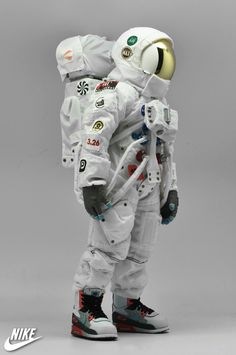 This is for nike air max day exhibition. astronaut with space lunar boots walk on moon.