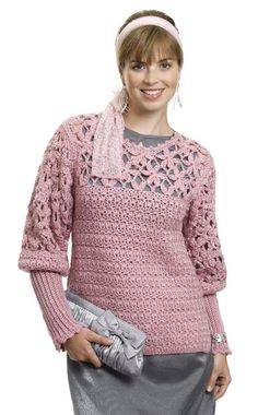 free pattern - Rose of Sharon Tunic designed by Mary E. Nolfi - holy crap I love those sleeves! look up this garment at Caron.com because it wouldn't Pin from the pattern page
