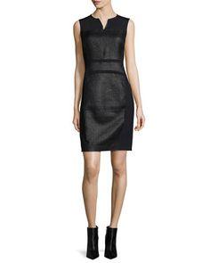 Anya Sleeveless Coated Tweed Sheath Dress by Elie Tahari at Neiman Marcus.