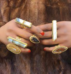 Agate Gemstone Rings www.chandrajewelry.etsy.com