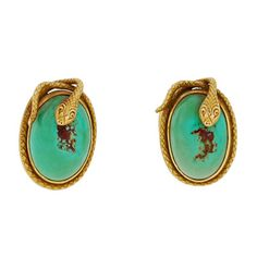 Victorian gold and turquoise cufflinks, c.1880, in the form of coiled snakes, symbols of eternity.