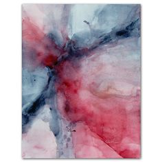 Abstract watercolor painting, Titled 'Songs of Freedom', crimson red, indigo