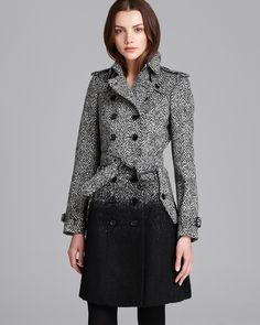 Edgy and sophisticated. Good for transition between day and night. Burberry London Coat - Callcott Ombré Tweed | Bloomingdale's