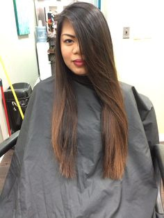 Dark brown to medium chocolate brown hand painted balayage ombré by Theresa Russo phd salon