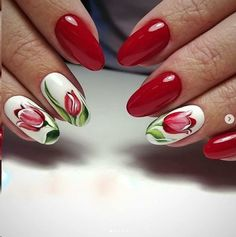 60 Lovely Designs for Acrylic Nails You Won't Resist These trendy Nail Designs. - 60 Lovely Designs for Acrylic Nails You Won't Resist These trendy Nail Designs ideas would gain y - Flower Nail Designs, Flower Nail Art, Acrylic Nail Designs, Nail Art Designs, Acrylic Nails, Stylish Nails, Trendy Nails, Cute Nails, Red Gel Nails