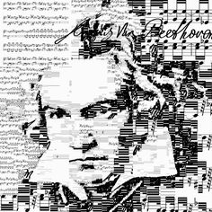 Beethoven self portrait | Generative collage using his music and signature (Sheet music from Piano Sonata No 8 - Pathétique) by Sergio Albiac