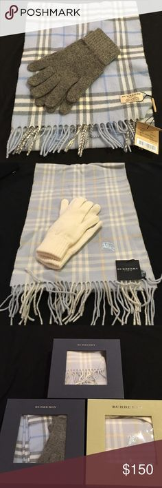 NWT Burberry hat/glove sets NWT authentic wool Burberry scarf and glove gift sets! 3 available (one without gloves- willing to negotiate lower price). One set is darker blue with grey gloves, and two lighter blue one with off white/cream gloves, one without. All include gift boxes in great condition. Bundle and save!! Feel free to make an offer 🤗 Burberry Accessories Scarves & Wraps