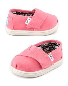 Classic Canvas Slip-On, Pink, Tiny  by TOMS at Neiman Marcus. If I had a little girl I'd buy these!!!