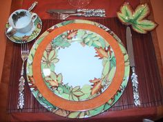 "collection ""autumn leaves"" plates , cups and saucers,  and lovely accents in Limoges porcelain..."