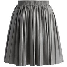 Chicwish Delight Faux Leather Pleated Skirt in Grey ($42) ❤ liked on Polyvore featuring skirts en grey