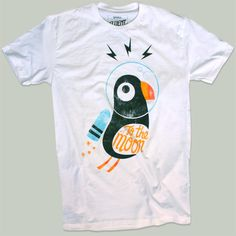"Puffin with jetpack ""to the moon""  tee"