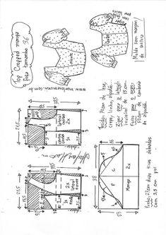 Top cropped com manga fofa camponesa Blouse Patterns, Clothing Patterns, Sewing Patterns, Top Pattern, Pattern Design, Pattern Draping, American Revolutionary War, Dress Making Patterns, Dressmaking