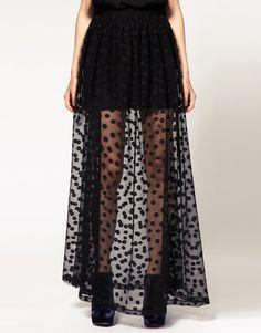 #ASOS Maxi Skirt In Mesh Spot