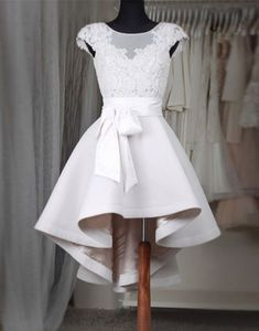 White round neck lace short prom dress, bridesmaid dress