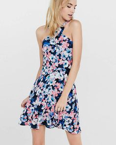 Floral Crossover Neck Fit And Flare Dress, $69, sale $48.93 | EXPRESS