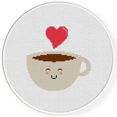Embroidery Cross Stitches Charts Club Members Only: Kawaii Coffee Cross Stitch Pattern - Kawaii Coffee Cross Stitch Pattern Tiny Cross Stitch, Cross Stitch Kitchen, Simple Cross Stitch, Modern Cross Stitch, Cross Stitch Charts, Cross Stitch Patterns, Cross Stitching, Cross Stitch Embroidery, Embroidery Patterns